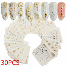 30Pcs Gold Silver Water Decal Nail Art Stickers Feather Flower Spider Design Set