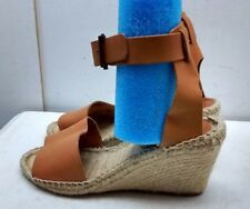 Picon Handmade Spain Brown Leather Ankle Wrap Espadrille Sandal Women's Shoes 9M