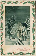 1930 Auguri Buon Natale Albero Neve Bimbi Calvatone Cremona FP COL VG