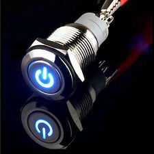 12V 3A 16mm Blue LED Power Symbol Metal Momentary off(on) Push Button Switch