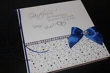 Hardcover Gästebuch zur Hochzeit , weiß - royal blau - silber