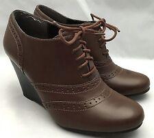 Mootsies Tootsies Brown Wedge Heel Shoe Booties MOFALLOOKK Size 8M AS-IS