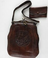 Nocona Bags No Better Made Turnloc Leather Wallet Purse w/ Flowers Hand Tooled