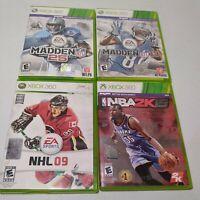 Lot Of 4 XBOX 360 EA SPORTS Games MADDEN 13,25..NHL 09,NBA 2K15