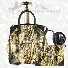 Montana West (2) Two Piece Luggage Set Green Spiritual Collection Conceal Carry