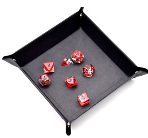 Dice Rolling Tray BLACK - Folding Dice Matt Flat Surface - RPG D&D for Poly Sets