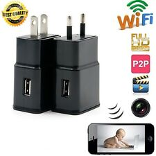 Spy Camera Wireless HD 1080P USB WiFi Mobile Hidden AC Adapter Wall Charger Plug