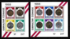 Gibraltar 1988 postfrisch MNr. Block 13 und 14  Neue Münzen von 1988