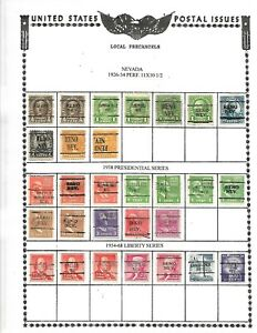 NICE  GENERAL COLLECTION OF 83 NEVADA PRECANCELS SET UP BY SCOTT#