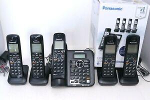 Panasonic KX-TGF775 Link2Cell DECT 6.0 Cordless 5 Phone System w/ Answer Machine