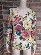 TALBOTS 100% Cashmere Cardigan Size S Small Floral Sweater Long Sleeve Women