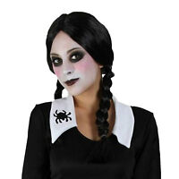 Scare Machine Black Plaits Wig Halloween Fancy Dress Wednesday Addams Schoolgirl