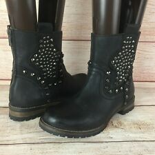 Corral Black Leather Studded Back Zip Ankle Boots Sz 6 M 0315 Western