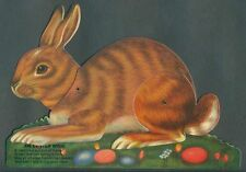 1991 B Shackman Jointed Easel BROWN BUNNY RABBIT Vintage EASTER Greeting Card