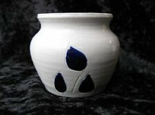 Williamsburg VA Virginia Studio Pottery Short Vase Vessel Salt Glaze Blue Leaves