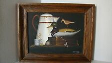 Framed Signed Original Still Life Painting With Duck Decoy
