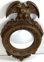 """Syroco 13"""" Federal Eagle Convex Mirror - Vintage Eagle Scrollwork - USA"""