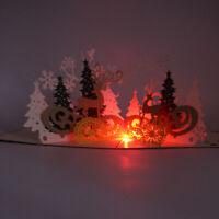 US LED Light Music 3D Pop Up Greeting Card Christmas Postcard Craft Gift Home