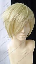 Men's Hot Sale Short Light Blonde Cosplay Party Straight Hair Fashion Full Wigs
