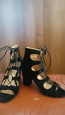 Rétro en suédine Gladiator Black Lace Up Sandals