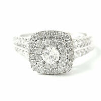 18ct Diamond Cluster Ring White Gold Round Cut Diamonds 0.73ct Size N 1/2