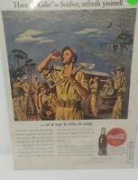 VINTAGE COCA-COLA COKE SODA ARMY SOLDIER WAR PRINT AD ANTIQUE ORIG 1944 WWII