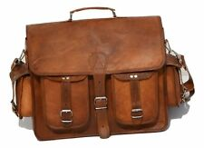 """Bag 17"""" Leather Vintage Shoulder Purse Large Tote Brown Satchel Handbag Women"""