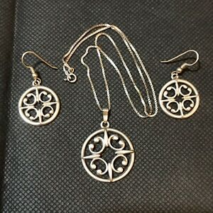 Ola Gorie Celtic 925 Sterling Silver Necklace & Earrings Set. Orkney, Scotland