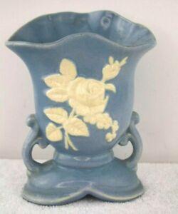 Vintage Weller Art Deco Pottery Vase Blue Cameo Rose 1930s Footed Handles