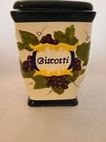 Nonni's Biscotti Square Hand Painted Fruit Motif Canister & Cobalt Blue Lid 9""