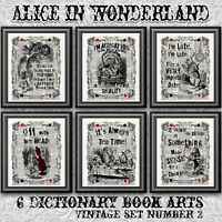 Alice in wonderland vintage dictionary art prints 6 book pages quotes