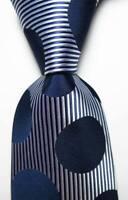 New Classic Dot Dark Blue White JACQUARD WOVEN 100% Silk Men's Tie Necktie