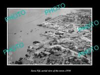 OLD LARGE HISTORIC PHOTO SUVA FIJI AERIAL VIEW OF THE TOWN c1950