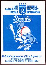 1979 KANSAS CITY ROYALS MUTUAL OF NEW YORK BASEBALL POCKET SCHEDULE FREE SHIP
