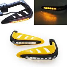 "Yellow 7/8"" ATV Dirt Bike Motorcycle Brush Bar Hand Guards Handguard Led Light"
