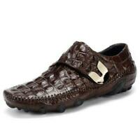Men Genuine Leather Crocodile Print Breathable Business Loafers Driving Shoes SZ