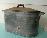 Vintage Large Galvanized Metal Wash Tub With Lid Primitive