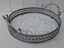 Deko Tablett Romantica rund 28 cm weiß Metallrand Shabby Chic Vintage Stil