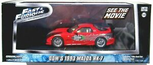 GREENLIGHT FAST & FURIOUS 1:43 DOM'S 1993 MAZDA RX-7 Red