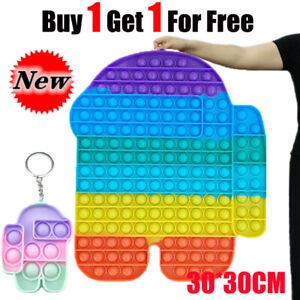 Rainbow 30cm Jumbo POP IT Sensory Fidget Toy Push Bubble Autism Stress Relief