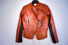 Fall Jacket Brown Faux Leather Lined Size Small Black Inserts Zipper Close