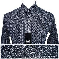 Relco Mens Abstract Geometric Print Shirt NEW Mod Vintage Retro Long Sleeve Vtg