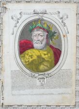 Gravure aquarellée Originale XVIIème par Nicolas Ier de Larmessin - Mérovée