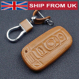 Leather Key Holder Cover Car Key Case For BMW 1 3 5 6 7 Series X5 X6 M5 Brown
