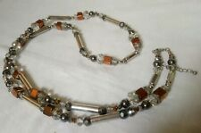 Glass Faceted Metal Bead mixed silver tone Necklace