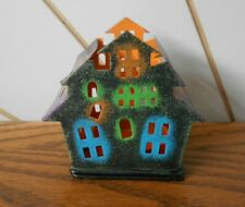 HAUNTED HOUSE small metal tealight candle holder HALLOWEEN