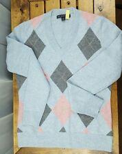 Brooks Brothers 100% Lambswool Argyle Diamond V-neck Sweater Women's Medium