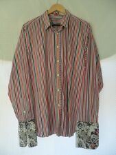 MENS TED BAKER COTTON STRIPED SHIRT DOUBLE CUFF SHIRT UK SIZE 5