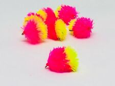 3 Pink/ Safety Yellow Blob Flies Grayling, trout river nymph DEADLY Size 10