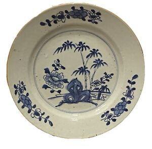 1700 Antique Chinese Export Porcelain Plate Bamboo Peony Blue White